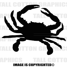 Crab Silhouette Custom Personalized Single Color Vinyl Decal