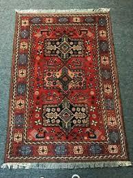 area rug geometric red 4x6 wool