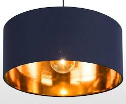 pendant shade in navy and copper