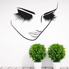 Lashes Beauty Salon Vinyl Wall Decal Stickers Girl Woman Long Lashes Eyelash Wall Art Mural Lash Bar Cosmetics Store Decor Wall Decals Stickers Stickers Girlbeauty Salon Aliexpress