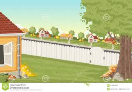 Wood Fence On The Backyard Of A Colorful House In Suburb Neighborhood Stock Vector Illustration Of Construction Architecture 115903240