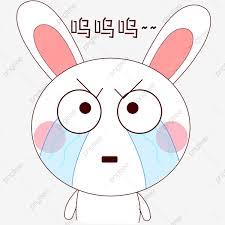 كرتون مرسومة باليد مرسومة باليد الأرنب التعبير باكية حزينة الأرنب