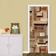 Self Adhesive Decal 3d Print Sticker Geometric Wood Letter Picture Home Decor Paper Cabinet Door Waterproof Art Removable Poster Door Stickers Aliexpress