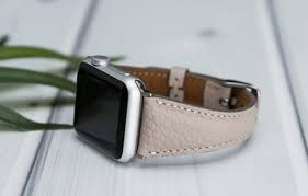 cute grey beige leather apple watch