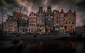 تحميل خلفيات أمستردام هولندا الأحياء الحضرية قناة المنازل