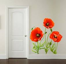 Red Poppy Flower Wall Sticker Floral Decal Living Room Home Decor 3 X Sizes Ebay