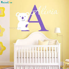 Custom Name Koala Wall Decal Two Colors Nursery Personalized Home Decoration For Kids Baby Room Lovely Poster Decals Yt987 Wall Stickers Aliexpress