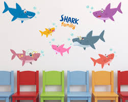 Zoomie Kids Shark Family Stickers Under The Sea Wall Decal Wayfair