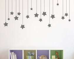17pcs Dark Grey Hanging Stars Wall Stickers For Kids Room White Star Baby For Sale Online Ebay