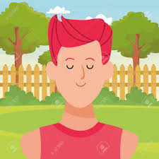 Man Portrait Avatar Cartoon Character In The Back Yard With Garden Royalty Free Cliparts Vectors And Stock Illustration Image 124302805