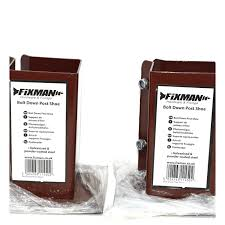Bolt Down Fence Post Supports Twin Pack 100mm X 100mm Brown Powder Coated Ebay