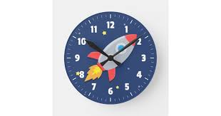Colourful Rocket Ship Outer Space For Kids Room Round Clock Zazzle Com
