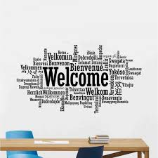 Welcome In Different Language Wall Decal Office Welcome Sign Vinyl Sticker Word Cloud Poster Wall Art Design For Business Decor Wallsymbol Com