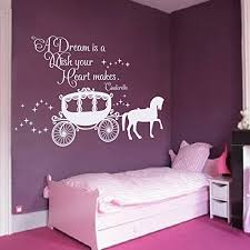 Saniwa Wall Decal Decor Cinderella Quote A Dream Is A Wish Your Heart Makes Wall Decal With Princess Carriage For Girls Nursery Baby Gift Kids Decal White 22 H X34 W