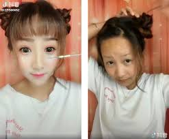 asian women removing makeup to reveal