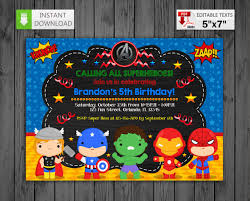 Printable Invitation Super Heroes In Pdf With Editable Texts