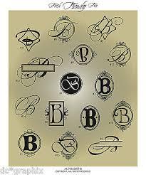 Fancy Monogram Letter B Vinyl Wall Decal Sticker Alphabet Home Decor Ebay