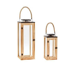 wood and glass outdoor patio lantern