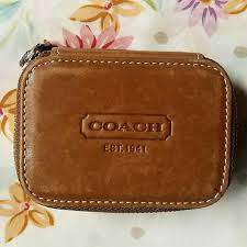 coach bags embossed leather pill box