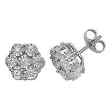 stud earrings in 9ct white gold