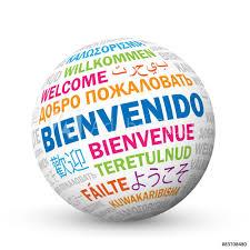 """FotoMural """"BIENVENIDO"""" icono con traducciones en varios idiomas - ref.  83708480;"""