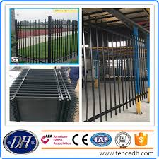 China No Dig Welding Black Powder Coated Steel Fencing Panel Dh Ya 16 China Fencing Powder Coated Fencing