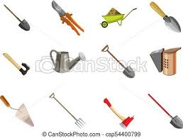 garden tools icon set cartoon style