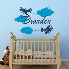 Airplane Name Wall Decal Boy Name Wall Decal Airplane Wall Etsy