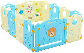 Amazon Com Baby Play Fence Child Barrier Safety Game Fence Outdoor Indoor Activity Center 12 Panels Scalable Easy To Clean 0 6 Years Old Baby Pet Supplies