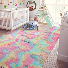 Amazon Com Andecor Soft Girls Room Rugs 4 X 6 Feet Fluffy Rainbow Area Rug For Kids Baby Room Bedroom Nursery Home Decor Large Floor Carpet Rainbow Home Kitchen