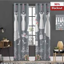 Amazon Com Mozenou Bridal Shower Grommets Curtain For Kids Room White Wedding Dress With Bride Details Bags Florals Print Protection Of Private Lifew96 X L84 White Pink And Charcoal Grey Home Kitchen