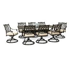 9 piece patio table with swivel chairs