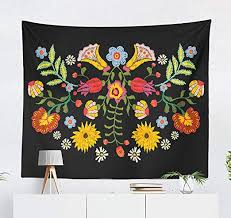 Amazon Com Darkchocl Bright Floral Pattern Decorative Tapestry Ethnic With Colorful Flowers Traditional Floral For Bedroom Living Kids Girls Boys Room Wall Hanging Tapestry 100 Polyester 80 L X 60 W Everything Else