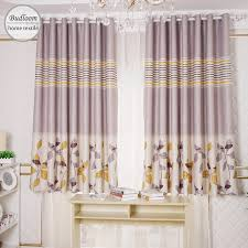 Yellow Leaves Stripe Printed Blackout Curtains For Bedroom Short Curtains For Small Window Drapes For Kids Room Curtains Aliexpress