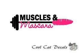 Muscles Mascara Decal Fitness Decal Barbell Decal Women Fitness Female Muscle Car Decal Laptop Decal Muscles Mascara Muscle Fitness Inspiration Quotes