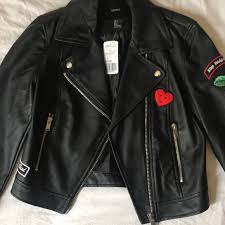faux leather jacket with patches