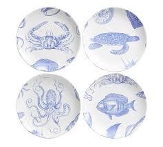 sea life salad plates set of 4