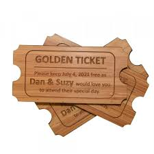 golden ticket wooden save the date