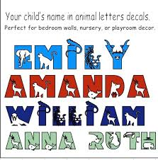 Wild Animal Themed Letter Decals Wall Named Decals Kids Room Decals Name Decals For Kid S Room Animal Letter Wall Decals Bedroom Names