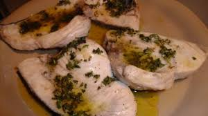 Pan-grilled swordfish kebabs with ...