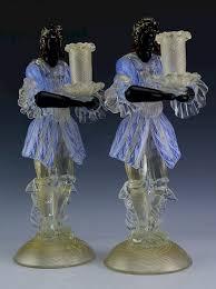 2 murano venetian glass blackamoor