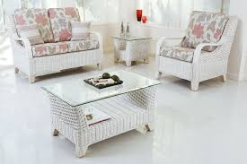 furniture white cane chair glass table