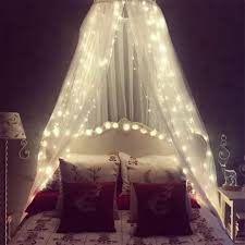 Amazon Com Mosquito Net For Bed Bed Canopy With 100 Led String Lights Ultra Large Hanging Queen Canopy Bed Curtain Netting For Baby Kids Girls Or Adults 1 Entry For Single To King Size
