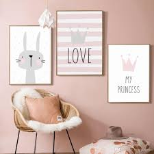 2020 Nordic Kids Room Decor Rabbit Crown Pictures For Girls Room Nursery Canvas Painting Nordic Posters Prints Baby Rooms Unframed From Maggiequan 11 3 Dhgate Com