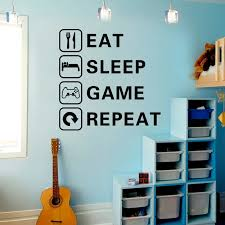 Eat Sleep Game Trilogy Wall Sticker For Boy Kids Rooms Living Room Decals Wallpaper Home Decoration Game Room Stickers Wall Stickers Aliexpress