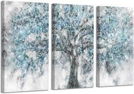 Amazon Com Abstract Tree Artwork Wall Art Blue Painting Hand Painted Picture On Canvas For Living Room 26 X 16 X 3 Panels Posters Prints