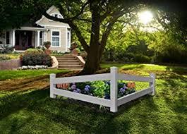 Amazon Com New England Arbors Va20236 Split Rail Corner Picket Fence White Garden Outdoor
