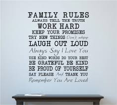 Family Rules Home Decor Vinyl Decal Wall Stickers Letters Words