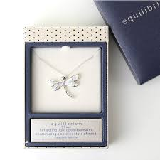 silver plated lilac dragonfly necklace