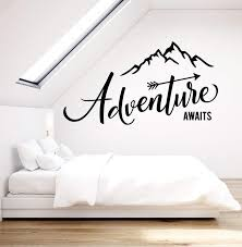 Vinyl Wall Decal Adventure Awaits Motivation Quote Mountains For Trave Wallstickers4you